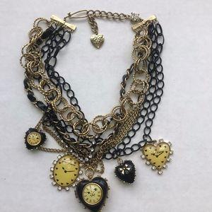 "BJ ""Time Flies"" Clocks Multi Chain Choker Necklace"
